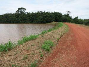 Allein in Oriximiná befinden sich 24 Rückhaltebecken für giftigen Klärschlamm aus der Bauxitproduktion. Hier der Staudamm Água Fria, ein paar hundert Meter oberhalb von Boa Vista gelegen.