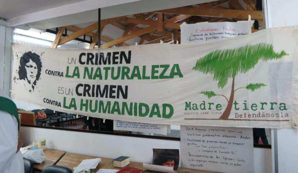 Banner bei Iglesias y Mineria, einer Partnerorganisation von Fastenopfer in Kolumbien (Foto: Doro Winkler Fastenopfer)