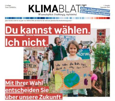 Klimablatt Titelseite. Quelle: Klimablatt