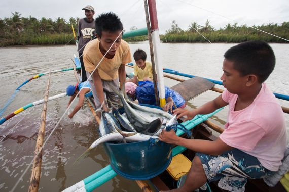 CERD, Kinder zeigen ihren Frang, Fische, Fischerboot